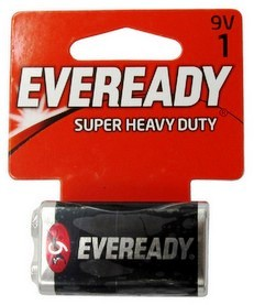 Eveready 12229V Super Heavy Duty Batteries: 9 Volt Battery 1 pack - Dated 9-2019