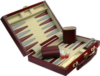 "10"" Burg Suede Comtemporary Backgammon Set # 3037S-BURG"
