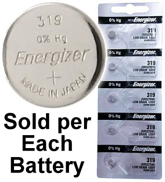 Energizer Batteries 319 (SR527SW) Silver Oxide Watch Battery. On Tear Strip