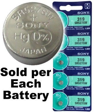 Sony Batteries SR527SW - 319 Silver Oxide Watch Battery - On Tear Strip, Exp. 2-2019