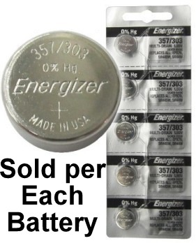 Energizer 357/303 (SR44W, SR44SW, EPX76) Silver Oxide Multi Drain Watch Battery. On Tear Strip