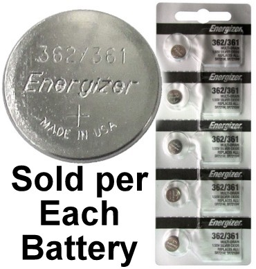 Energizer Batteries 362/361 (SR721W, SR721SW) Silver Oxide Watch Battery. On Tear Strip