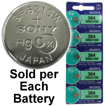 Sony Batteries SR621SW - 364 Silver Oxide Watch Battery - On Tear Strip. Exp. 6 - 2019
