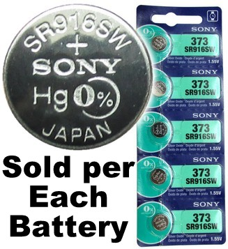 Sony Batteries SR916SW - 373 Silver Oxide Watch Battery - On Tear Strip, Exp. 9-2018
