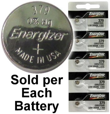 Energizer Batteries 379 (SR521SW) Silver Oxide Watch Battery. On Tear Strip