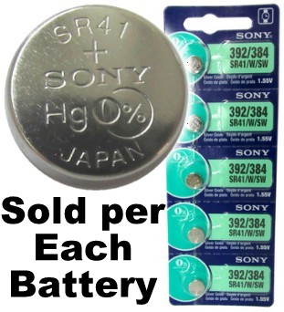 Sony Batteries SR41W - 392 (384) Silver Oxide Watch Battery - On Tear Strip, Exp. 3-2019