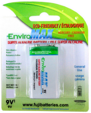Fuji EnviroMax 9 Volt Super Alkaline Battery Blister Pack 9V