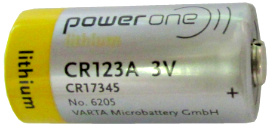 Varta Power One CR123A #6205 3 Volt Lithium Battery, Made in China