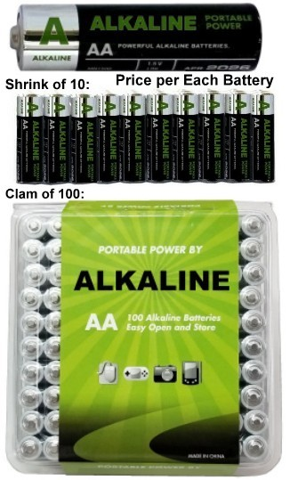 AA Alkaline Battery, 100 Pack in Clam, Exp. 4/2025