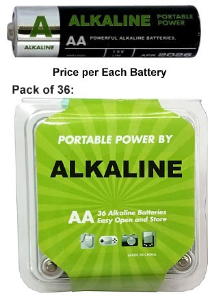 AA Alkaline Bulk Battery, 36 Pack in Clam, Exp. 4/2025