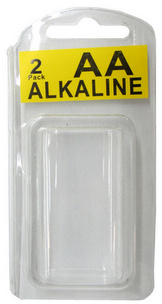 Long Neck Plastic Clam Shell for 2 AA Batteries - 2000 per Carton