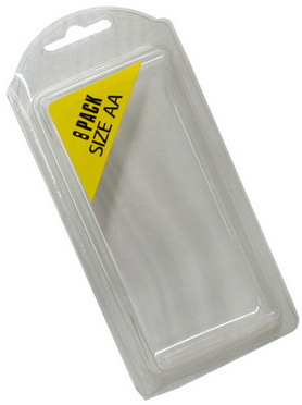 Plastic Clamshell with Label for 8 AA Batteries - 900 per Carton