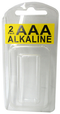 Long Neck Plastic Clam Shell for 2 AAA Batteries - 2000 per Carton