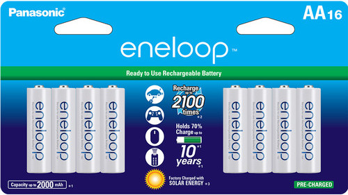 Panasonic Eneloop AA Rechargeable Ni-MH Batteries, 1.2V, 2000mAh, Pack of 16