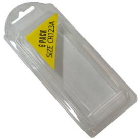 Plastic Clamshell with Label for Six CR123A Batteries - 1200 per Carton