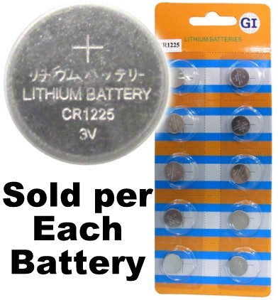GI Batteries CR1225 Coin Lithium Battery, On Tear Strip