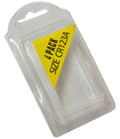 Plastic Clamshell with Label for Four CR123A Batteries - 2500 per Carton