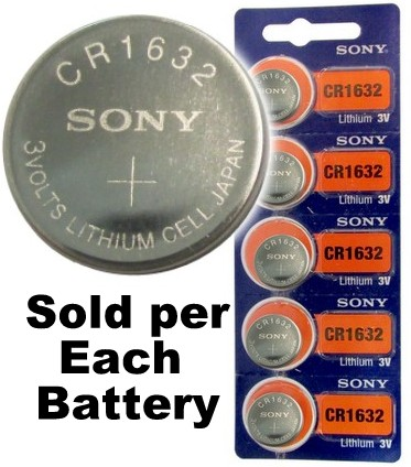 Sony CR1632 3 Volt Lithium Coin Battery On Tear Strip, 2024 Date