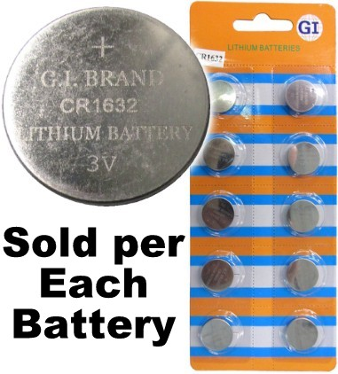 GI Batteries CR1632 Coin Lithium Battery, On Tear Strip