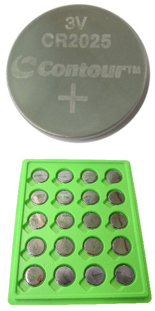 Contour CR2025 Coin Lithium Battery, Bulk Pack in Tray