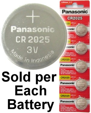 Panasonic CR2025 3 Volt Lithium Coin Battery on Tear Strip