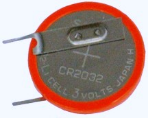 Sanyo CR2032 3 Volt Lithium Coin Battery W/ Vertical 2 Pin # CR2032-T9-2