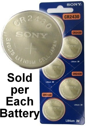Sony CR2430 3 Volt Lithium Coin Cell, Exp. 2027