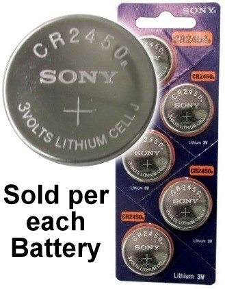 Sony CR2450B 3 Volt Lithium Coin Battery On Tear Strip