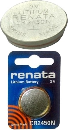 Renata CR2450N, 3V, 540mAh, Lithium Coin Battery, Carded. Exp. 5-2024
