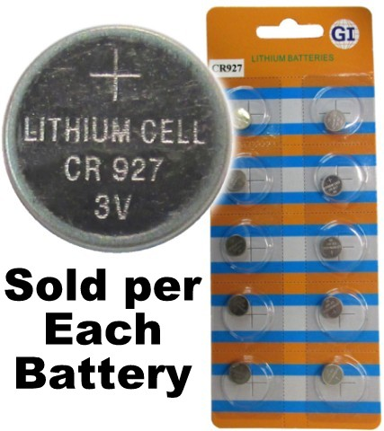 GI Batteries CR927 Coin Lithium Battery, On Tear Strip
