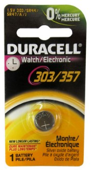Duracell 303/357 1.5V Silver Oxide Watch Battery, Carded