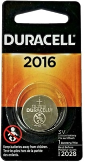 Duracell DL2016 3 Volt Lithium Coin Cell, Carded