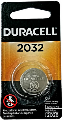 Duracell DL2032 3 Volt Lithium Coin Battery, Carded