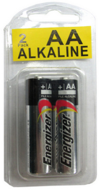 Energizer E91AA Alkaline 2 Pack, Made in USA in Reusable Long-Neck Plastic Pack AA