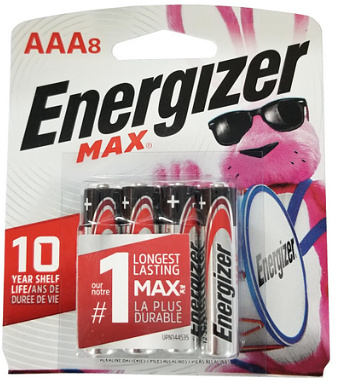 Energizer USA Max Batteries E92 AAA Alkaline Battery 8 Pack Carded AAA