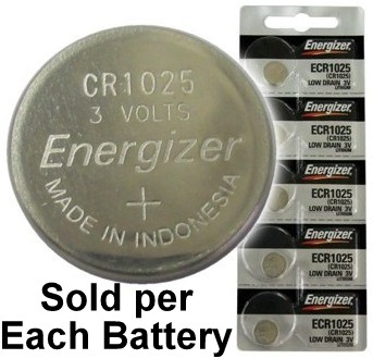 Energizer ECR1025 (CR1025) Lithium Coin Cell, On Tear Strip