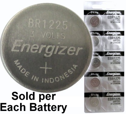 Energizer EBR1225 (BR1225, CR1225) Lithium Coin Cell, On Tear Strip