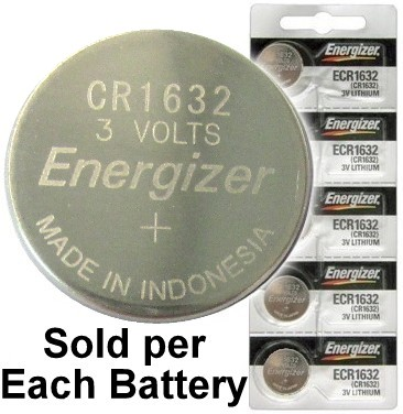 Energizer ECR1632 (CR1632) 3 Volt Lithium Coin Cell, on Tear Strip