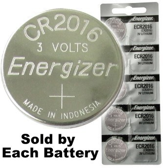 Energizer ECR2016 (CR2016) 3 Volt Lithium Coin Cell, On Tear Strip