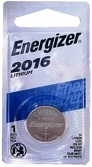 Energizer ECR2016BP (CR2016) 3 Volt Lithium Coin Battery, One on Card