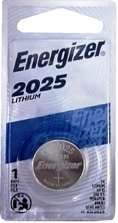 Energizer ECR2025 (CR2025) 3 Volt Lithium Coin Battery, One on Card
