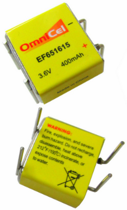 Omnicel EF651615, 3.6 Volt 400mAh Prismatic High Energy Lithium Battery