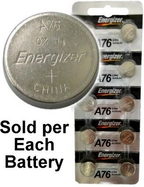 Energizer A76 (PX76A, LR44, AG13) Alkaline Watch Battery, on Tear Strip