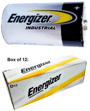 "Energizer Batteries EN95 D Size Industrial Alkaline Battery - Made in USA ""12-2027"" Date"