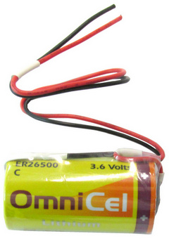 OmniCel ER26500, C Size, 3.6 Volt 8.5Ah Lithium Battery, with Wire Leads