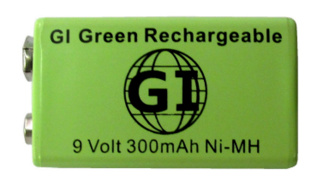 GI 9 Volt, 300 mAh Ni-MH Rechargeable Battery