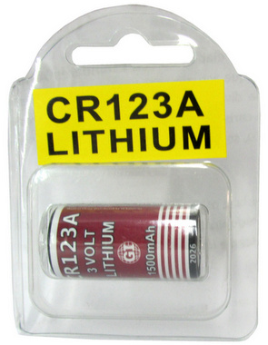 GI CR123A, 1500mAh, 3 Volt Lithium Battery - 1 in Reusable Plastic Pack