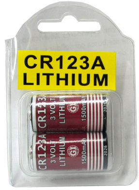 GI CR123A, 1500mAh, 3 Volt Lithium Battery - 2 in Reusable Plastic Pack