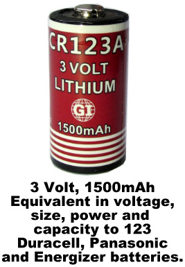 GI CR123A, 1500mAh, 3 Volt Lithium Battery - Date 2026