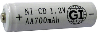 G.I. AA, Ni-Cd Rechargeable Battery 1.2V, 700 mAh AA